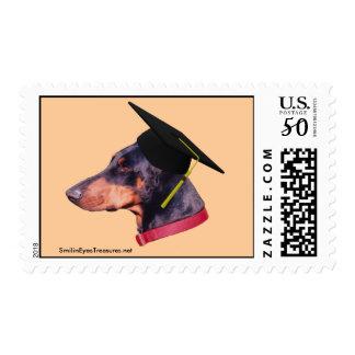 Graduate Doberman Dog Funny Postage Stamp