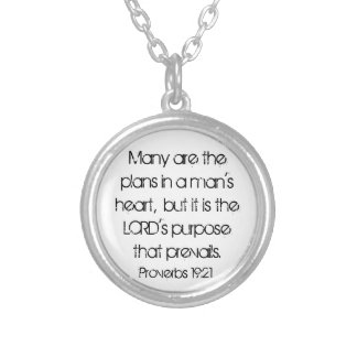 Graduate encouragement bible verse Proverbs 19:21 Silver Plated Necklace