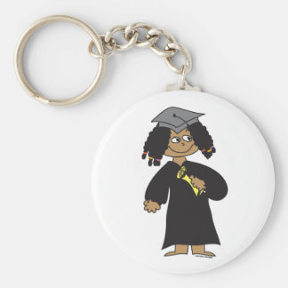 Graduate, Ethnic Female Basic Round Button Keychain