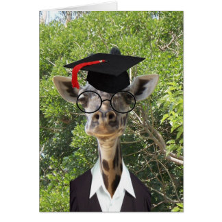 Graduate Giraffe Red Tassel Card