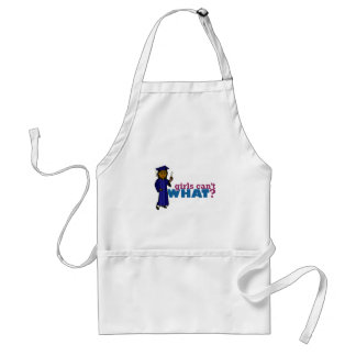 Graduate Girl in Blue Gown Adult Apron