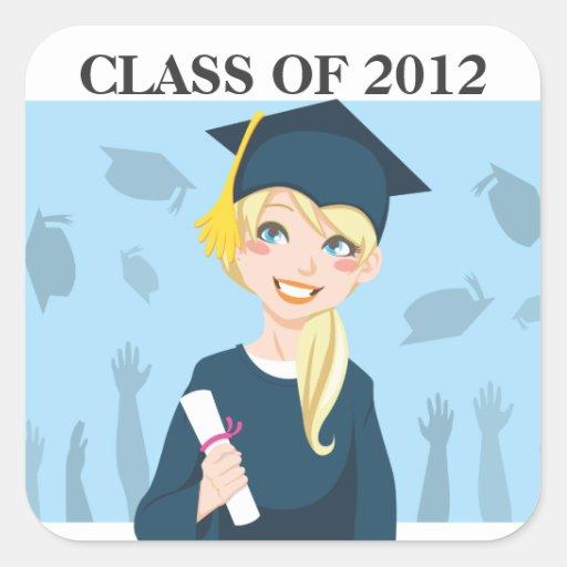 Graduate Girl Square Sticker