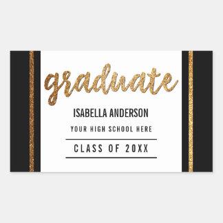 Graduate | Gold Glitter Script & Border on Black Rectangular Sticker