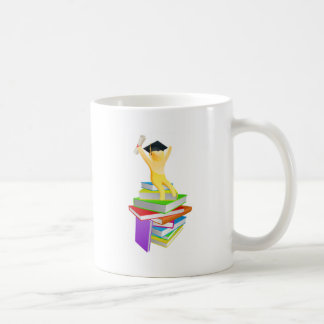 Graduate gold person and books coffee mugs