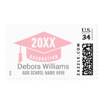 graduate / graduation academic class of, pink postage
