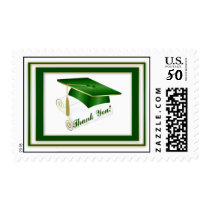 Graduate Green Thank You Postage