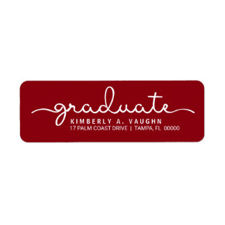 Graduate Hand Lettered Script DIY School Colors Label