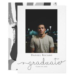 Graduate Handwritten Brush Strokes Personalized Card