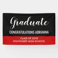 Graduate Handwritten Congratulations Black Red Banner