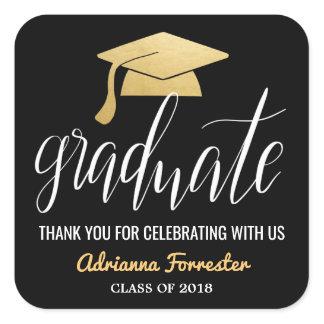 Graduate Handwritten Faux Gold Foil Hat Thank You Square Sticker