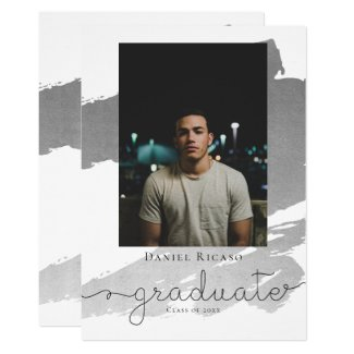 Graduate Handwritten Grey White Personalized Card