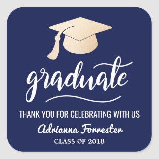 Graduate Handwritten | Hat | Thank You Navy Blue Square Sticker