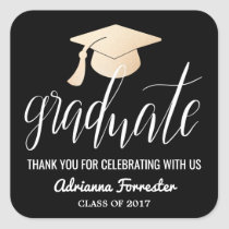 Graduate Handwritten Script | Hat Thank You Black Square Sticker