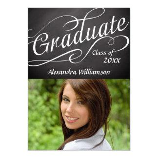 Graduate in Swirly Script Chalkboard w/ Photo Card