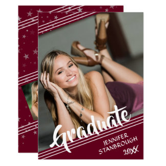 Graduate, Lines & Stars | Editable Color | 4-Photo Card