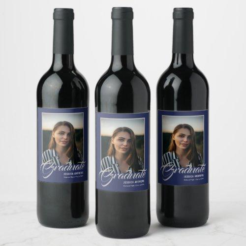 Graduate Modern Editable Photo Blue  Graduation Wine Label