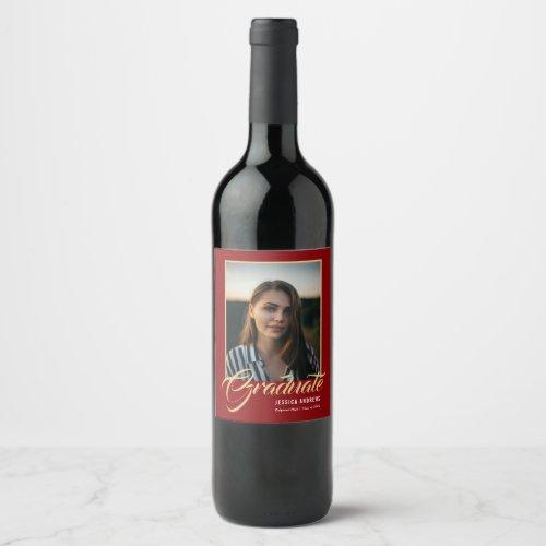 Graduate Modern Editable Photo  Graduation Wine Label