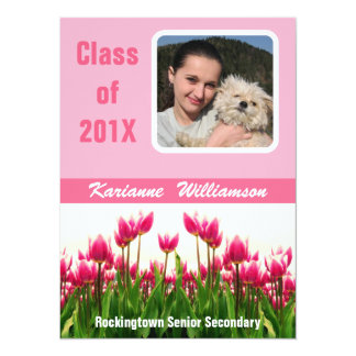Graduate of 2012 with  Photo  Pretty Pink Tulips Card