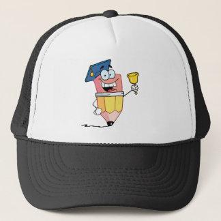 Graduate Pencil Cartoon Character Ringing A Bell Trucker Hat