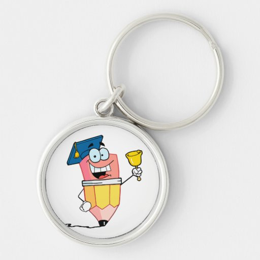 graduate pencil cartoon ringing a bell Silver-Colored round keychain