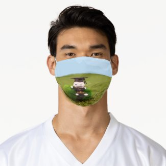 Graduate people on green grass graduation adult cloth face mask
