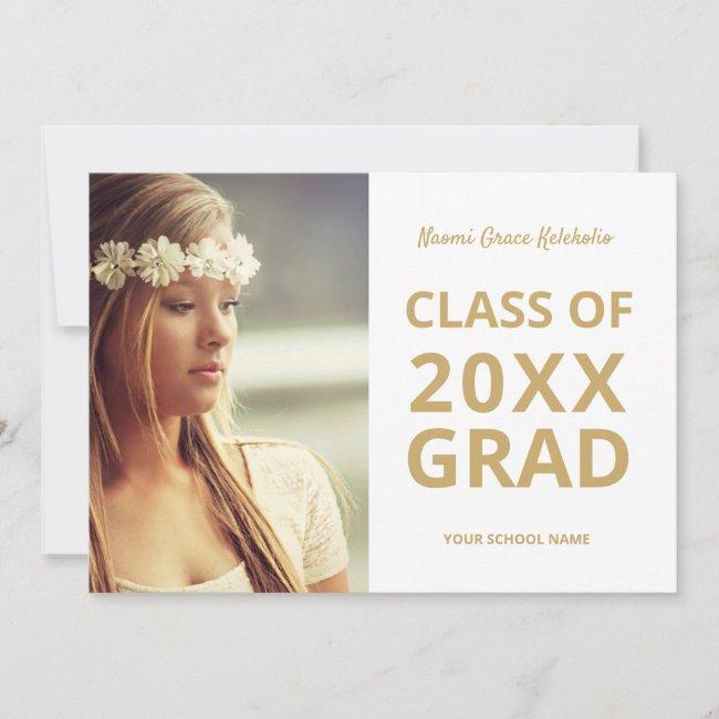 Graduate Photo Modern Simple Gold Graduation Announcement