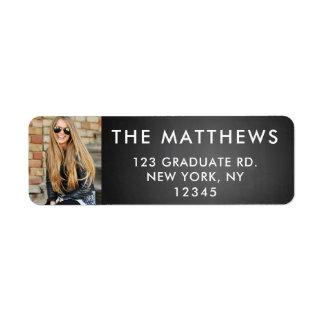 Graduate Photo Modern Typography Black Chalkboard Label