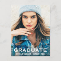 Graduate Photo Modern WB Announcement Postcard