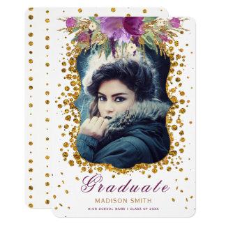 Graduate Photo Sparkle Flowers Glitter Confetti Card