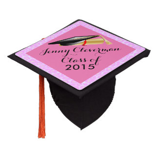Graduate | Pink Leopard Animal Print | Personalize Graduation Cap Topper