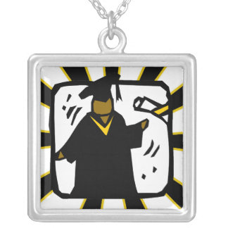 Graduate Receiving Diploma (1) Black & Gold Silver Plated Necklace