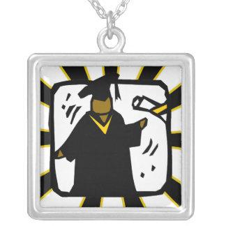 Graduate Receiving Diploma (1) Black & Gold Square Pendant Necklace