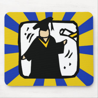 Graduate Receiving Diploma (2) Gold & Blue Mouse Pads