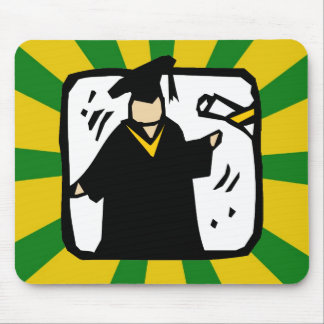 Graduate Receiving Diploma (2) Green & Gold Mouse Pad