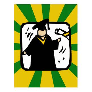 Graduate Receiving Diploma (2) Green & Gold Postcard