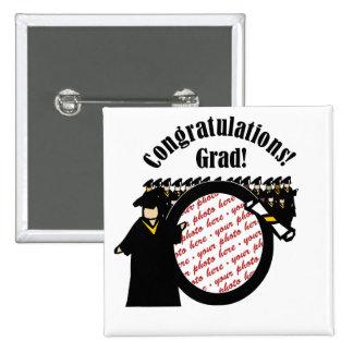 Graduate Receiving Diploma (2) Photo Frame Pinback Button