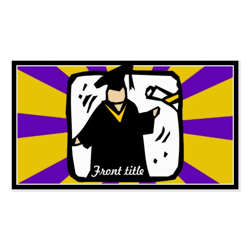 Graduate Receiving Diploma (2) Purple & Gold Business Cards