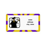 Graduate Receiving Diploma (2) Purple & Gold Personalized Address Label