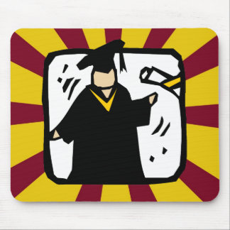 Graduate Receiving Diploma (2) Red & Gold Mouse Pads