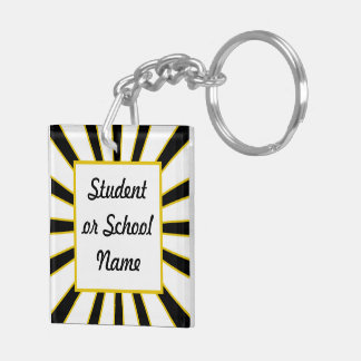 Graduate Receiving Diploma - Black & Gold Keychain