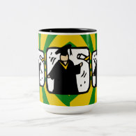 Graduate Receiving Diploma - Green & Gold Two-Tone Coffee Mug