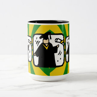 Graduate Receiving Diploma - Green & Gold Two-Tone Coffee Mug