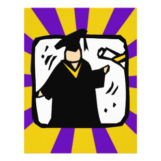 Graduate Receiving Diploma - Purple & Gold Flyer