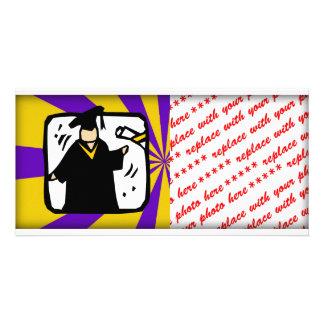 Graduate Receiving Diploma - Purple & Gold Photo Card