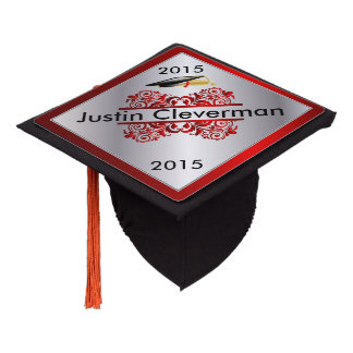 Graduate | Red and Silver | Personalize Graduation Cap Topper