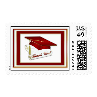 Graduate Red Thank You Postage