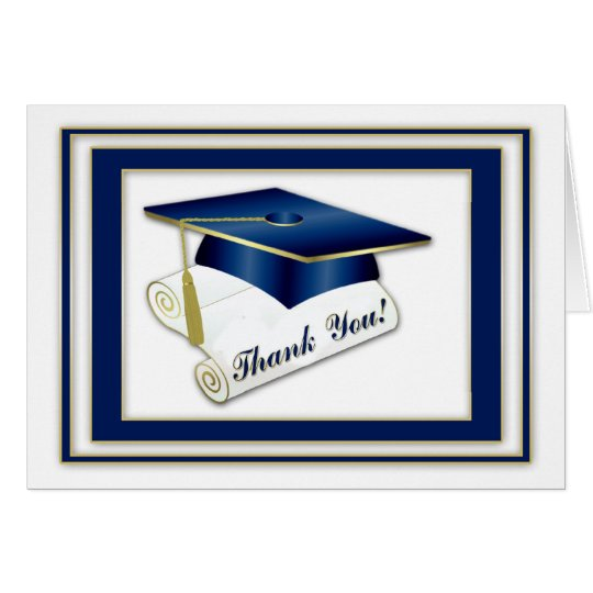 Graduate Royal Blue Thank You Card