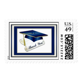 Graduate Royal Blue Thank You Postage