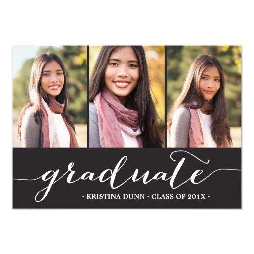 Graduate Script Black Photo Collage | Graduation Card