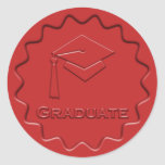 Graduate Sign Red Wax Seal Classic Round Sticker